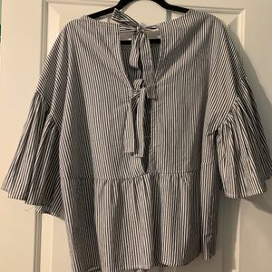 The Impeccable Pig Tops - Layered short sleeve striped blouse